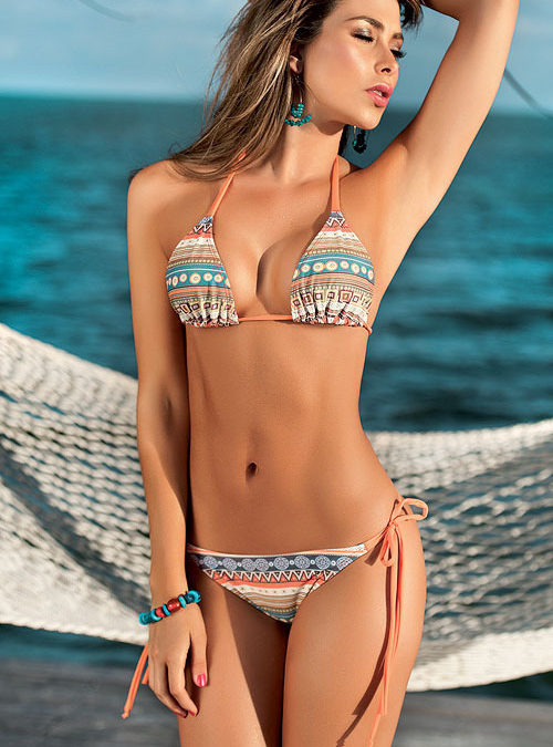 Mapale Swim & Beachwear Bikini Top with Thong Cut Bottoms