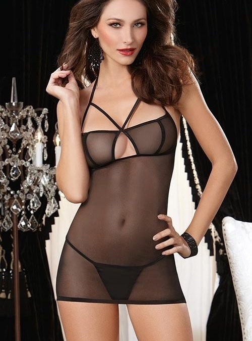 Dreamgirl Sheer Chemise with G-String