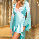 Shirley Of Hollywood Charmeuse & Lace Robe