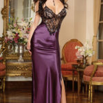 Dreamgirl Satin & Lace Gown with G-String