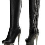 Pleaser 6″ Heel Leather Knee High Boot