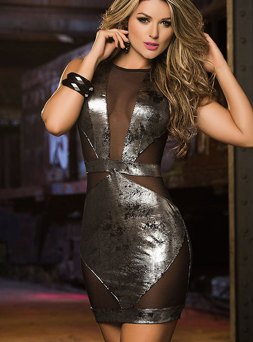 Mapale by Espiral Mesh with Silver Metallics Mini Dress