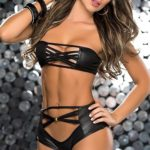Mapale by Espiral Wet Look Trappy Bandeau Top with Panty