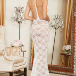 Dreamgirl Long Lacy Gown with G-String