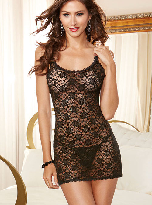 Dreamgirl Lace Chemise with G-String