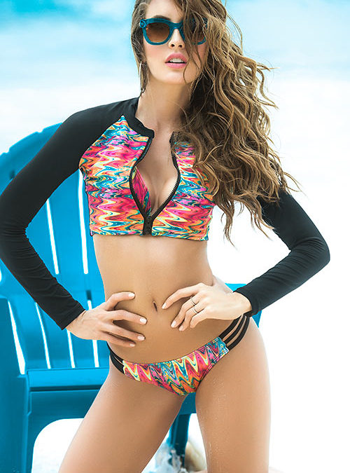 Mapale Swim & Beachwear 3 Pce Chevron Print Bikini Set