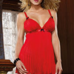 Dreamgirl Pleated Chiffon Babydoll with G-String RUN OUT SALE STOCK